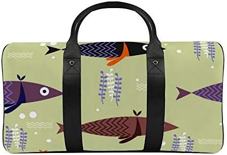 ボストンバッグ ダッフルバッグ 魚柄 フィッシュ スポーツバッグ 旅行バッグ 旅行カバン メンズ レディース ジムバッグ キャリーオンバッグ 大容量 トラベルバッグ 収納バッグ ショルダバッグ カート固定ロープ付き