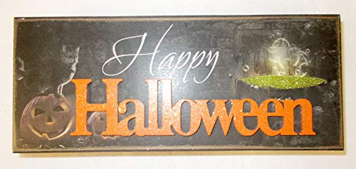 (youngs Black Orange White Happy Halloween Wood Block Halloween Decor 9in)