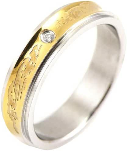Stainless Steel Concave Gold-Tone Inlay Dragon Band Ring - Women
