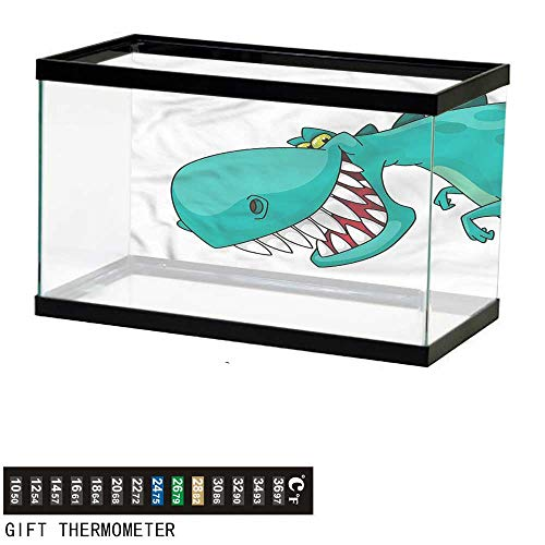 (bybyhome Fish Tank Backdrop Dinosaur,Big Pointy Teeth Smiling,Aquarium Background,60