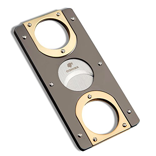 Gold Plated Cigar Cutter - Cigar Cutter Double Bladed Cohiba Stainless Steel