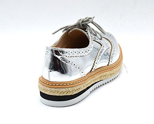 Oh My Shop - Zapatos de Cordones de Material Sintético Mujer plata