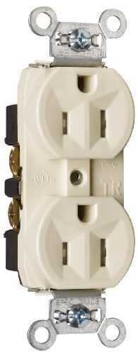Legrand - Pass & Seymour TR5262LACC12 Receptacle Duplex Tamper Resistant Back and Side Wire 15-Amp/125-volt Light, Almond ()