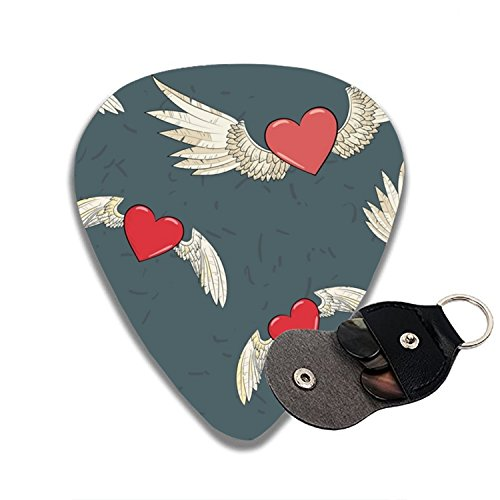Wings And Heart Celluloid Guitar Picks 6 Pack Includes Thin, Medium & Heavy Gauges