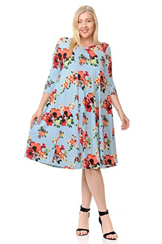 Floral Dress Trapeze - Pastel by Vivienne Women's A-Line Trapeze Midi Dress Plus Size Floral Print X-Large Floral Sky Blue