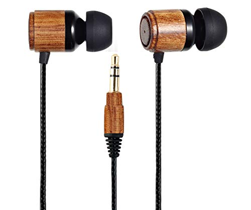 Esmooth Wooden Wired Headphones Noise Cancelling in-Ear Earbuds HD Stereo Earphones Dual Dynamic Drivers Earpieces Zebra