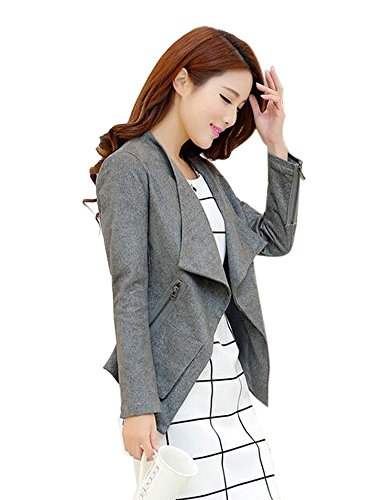 Aro Lora Women's Faux Suede Moto Jacket Zipper and Zip Front Pockets US 4-6 Grey - Grey Suede Print