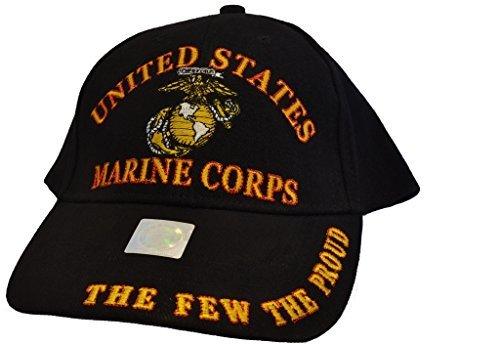 (Eagle Emblems Men's USMC The Few The Proud Embroidered Ball Cap Adjustable Black)
