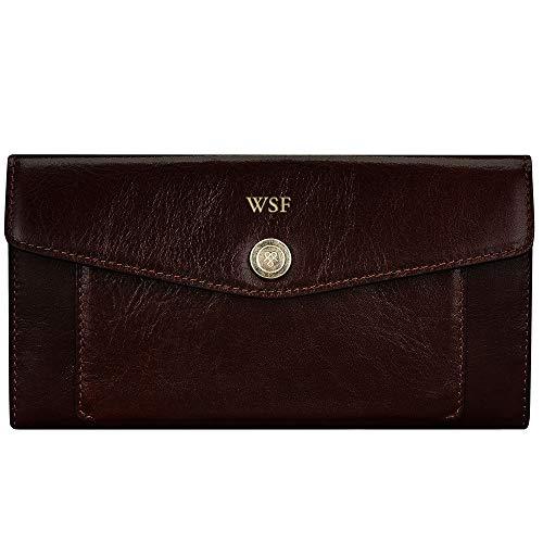 - Maxwell Scott Personalized Italian Leather Large Envelope Wallet - Forli Wine