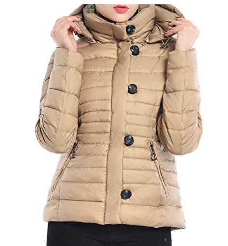 security Women's Lightweight Water-Resistant Packable Hooded Down Jacket Khaki