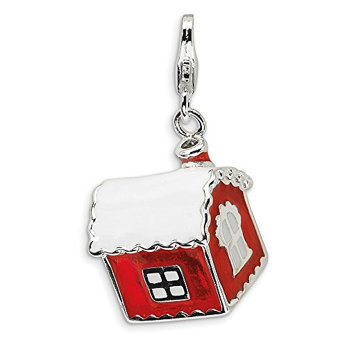 Saris Roof (925 Sterling Silver 3-D Enameled House with Snow on Roof with Lobster Clasp Charm)