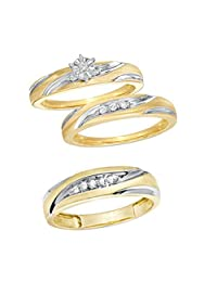 Araska Diamond His Hers Wedding Trio Sets Bridal Engagement Rings Wedding Bands 14K Yellow Gold FN