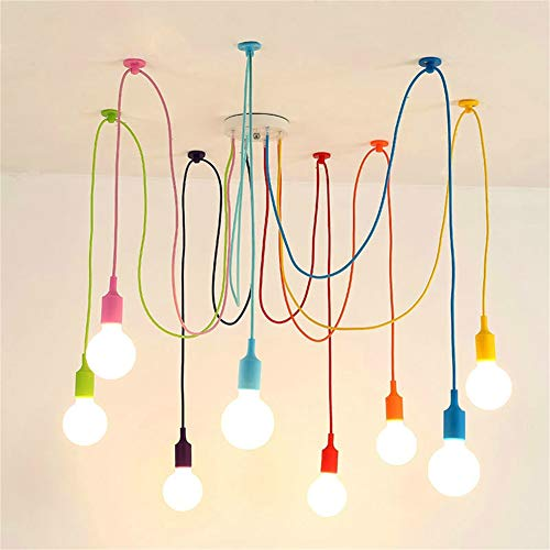 Modern Multi-Head Colorful Pendant Lights Personality Creative Spider Pendant Light Spider Chandelier for Dining Room Living Room Indoor Art Decoration (8 Heads)]()