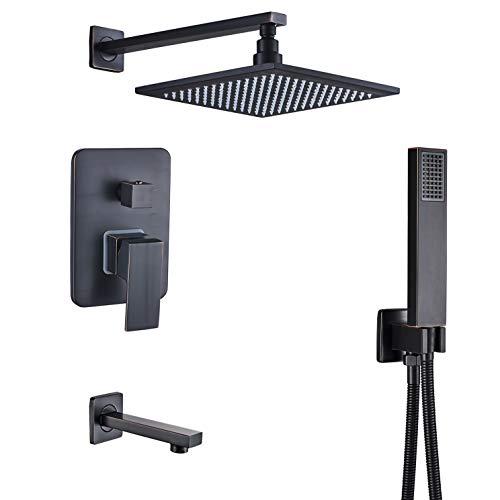 Rozin Bathroom 3-way Shower Kit 10-inch Rainfall Showerhead + Tub Tap + Handheld Spray Oil Rubbed Bronze