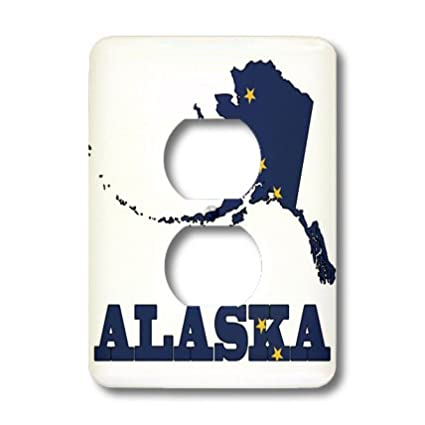 3dRose lsp/_58720/_6 State Flag in The Outline map and Letters of Alaska 2 Plug Outlet Cover Not applicble
