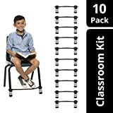 Original Bouncy Bands for Elementary School Chairs (Black, Pack of 10)