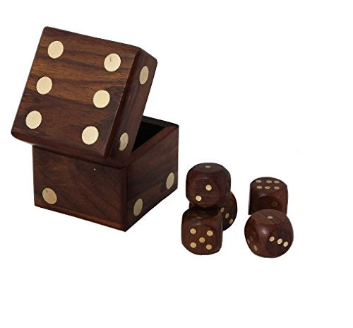 Christmas Dice Game (Christmas Gift/ Christmas Sale BIG Handmade Wooden Game Dice In Dice Set 4 Inches Brown)