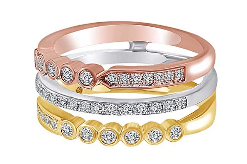 IGI certified 0.58 Carat (cttw) Round White Natural Diamond Three Tone Stackable Ring 18k Solid Gold (H/I, - Ring Three Quarter Stackable