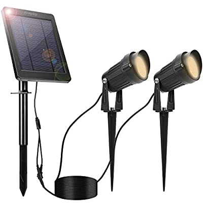 Jerayley LED Solar Powered Spot Lights Outdoor,Waterproof,Front Door Lighting for Outside,House,Garden,Landscape,Pathway,Driveways,Courtyard,Lawn