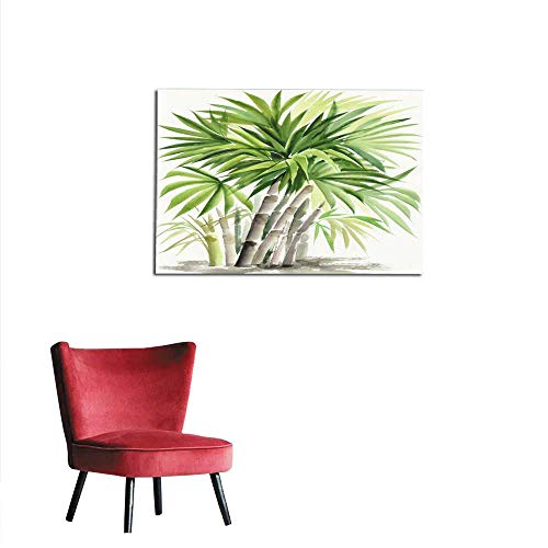 Palm Picture Bamboo (Wall Picture Decoration Watercolor Painting of Palm Bamboo Mural 32