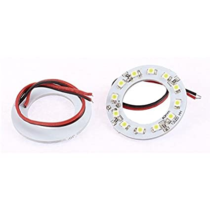 eDealMax 2pcs del coche 1210 40mm 12 LED SMD Anillo White Angel del ojo lámpara de