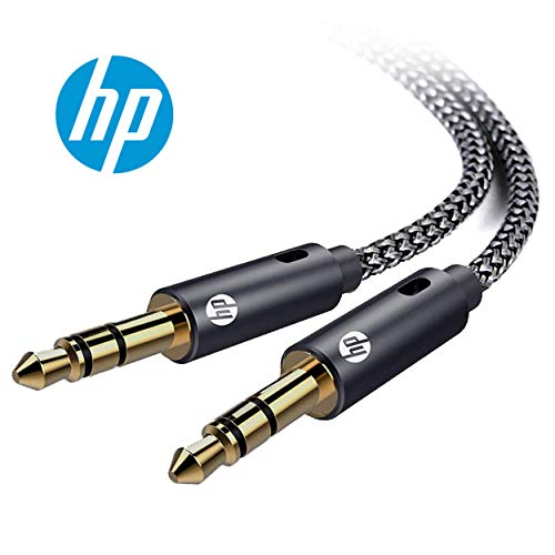 (HP Pro Aux 3.5mm Male to Male Stereo Audio Cable, Dual Shielded Gold-Plated Nylon Braided, 9.8 Feet )