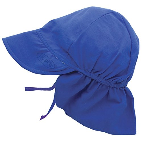I play. Baby Flap Sun Protection Swim Hat, Royal Blue, 0-6 Months