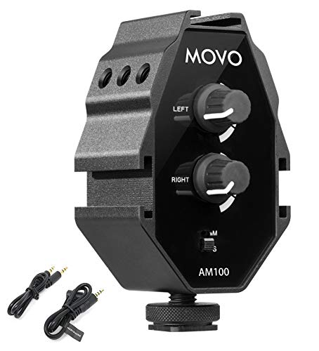 Movo AM100 2-Channel TRS 3.5mm Microphone Audio Mixer with 3 Cold Shoe Mounts - for Smartphones, Mirrorless, DSLR Cameras