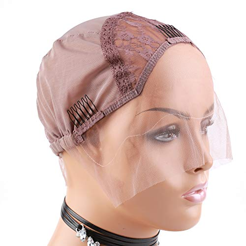 - Bella Hair Breathable Swiss Lace Front Wig Cap for Making Wigs with Adjustable Straps and Combs Large Size Violet