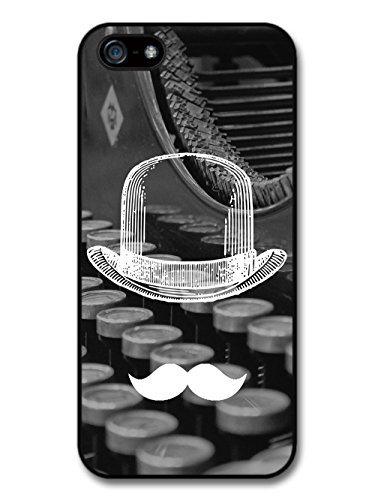 Cool Funny Cute Moustache Bowler Hat Typewriter case for iPhone 5 5S