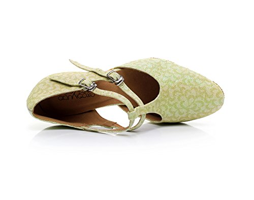 PU Latin T CFP Cha Green Wedding Low Swing Sudue Tango 2IN Sole Party Colsed Dance bar Ballroom for Cha 7102 Heel Women Toe Shoes rXaXwBqU