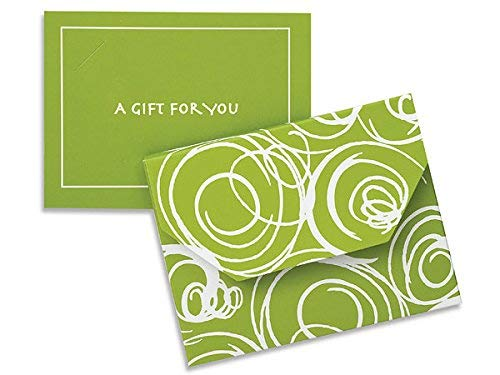 Pack of 12, Solid Leaf Green Swirls Fold Over Gift Card Holder 4-1/2 x 3-1/2 x 3/8''