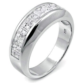 Mens Sterling Silver Half Eternity Cubic Zirconia CZ Wedding Band Ring