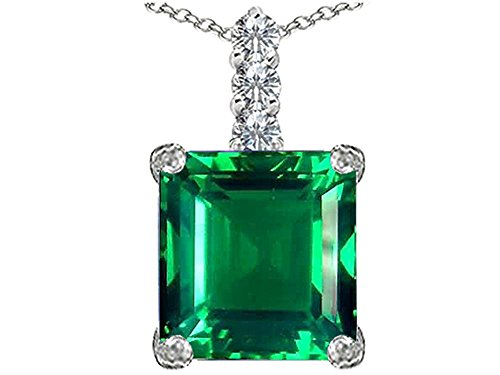 Star K Large 12mm Square Cut Simulated Emerald Pendant Necklace Sterling Silver