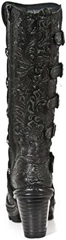 New Rock Boots M.NEOTR014-S1 Gothic Hardrock Punk Damen Stiefel Schwarz