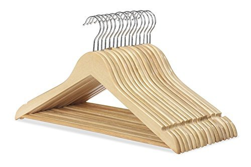 WOODEN COAT HANGERS SUIT GARMENT CLOTHES WARDROBE WOOD HANGER TROUSER BAR NEW (80) by Wilson_Direct by Wilson_Direct (Image #1)