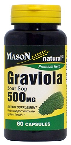Mason Natural, Graviola Sour Sop Capsules, 500 Mg, 60 Count, Herbal Dietary Supplement Supports Healthy Immune System, May Support Balanced Blood Sugar and Pressure