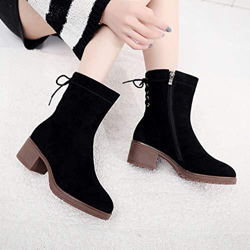 Gruesa Zapatos Para Martin Suede Botas Cálido Yan Mujer Tobillo Negro Nieve Moda Media De Invierno Calza Militares wtqU006xz