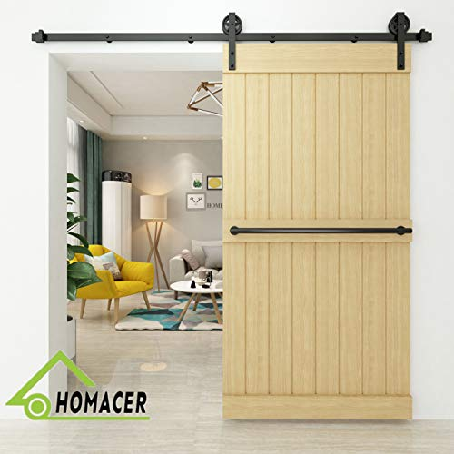 (Homacer Sliding Barn Door Hardware Standard Single Door Kit, 5.5FT Flat Track Black Wheel Design Roller, Black Rustic Heavy Duty Interior Exterior Use)