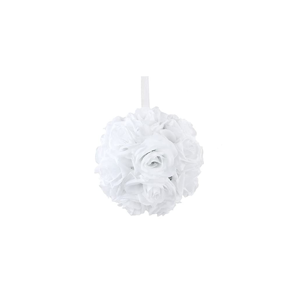 AerWo-White-Rose-Flower-Ball-Artificial-Pomander-Bouquet-7-inch-Kissing-Ball-Wedding-Centerpiece-Decoration
