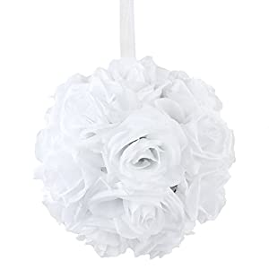 "AerWo White Rose Flower Ball Artificial Pomander Bouquet 7"" inch Kissing Ball Wedding Centerpiece Decoration 7"