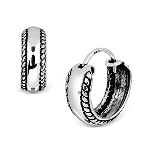 WithLoveSilver 925 Sterling Silver Oxidized Oxidized Knot Rope Twist Band Hoop Earrings