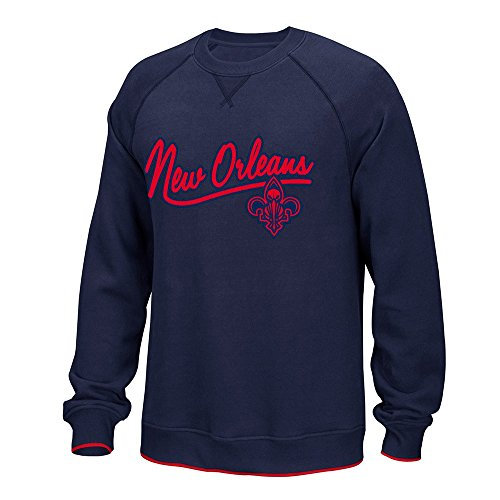 Adidas Classic Crew Sweatshirt (New Orleans Pelicans NBA Adidas Navy Blue Originals Classics Team Logo Fleece Crew For Men (L))
