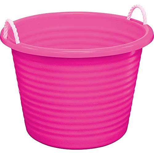 (United Solutions Pink Plastic Tub with Rope Handles, 17gal, 22