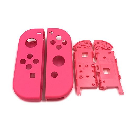 Full Housing Faceplate Shell Case Cover & Battery Middle Plate Frame Replacement Part for Nintendo Switch NS NX Joy-Con Controller (Pink)