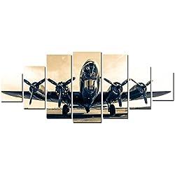 "STARTONIGHT Huge Canvas Wall Art B-17G Flying Fortress, USA Large Home Decor, Dual View Surprise Artwork Modern Framed Wall Art Set of 7 Panels Total 40"" x 95"""