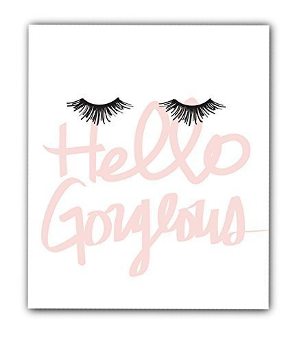 Hello Gorgeous 8x10 UNFRAMED Print, Eyelash Art Makeup Poster, Makeup Print, Dorm Decor, Girls Bedroom Wall Poster, Fashion Artwork Gift for Her.