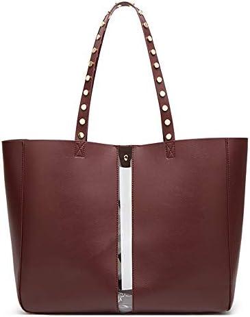 ハンドバッグ、ヨーロッパやアメリカのシンプルな人格の大容量リベット子トートバッグ、ショルダーバッグクロスボディバッグ、 よくできた (Color : Red, Size : 34*10*25 cm)