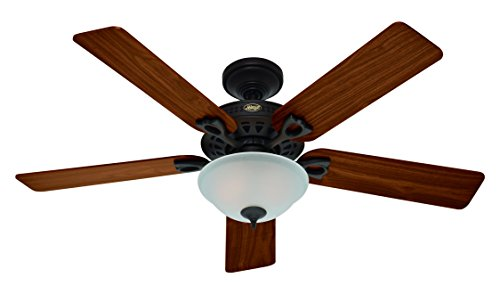 Hunter 53057 The Astoria 52-Inch Ceiling Fan with Five Walnut/Medium Oak Blades and Light Kit, New Bronze For Sale