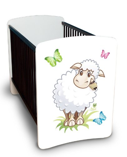 Best For Kids Gitterbett Julia - MEGA Set mit höhenverstellbar, Wandsticker und Schaumstoffmatratze 60x120 cm Design - Little Sheep